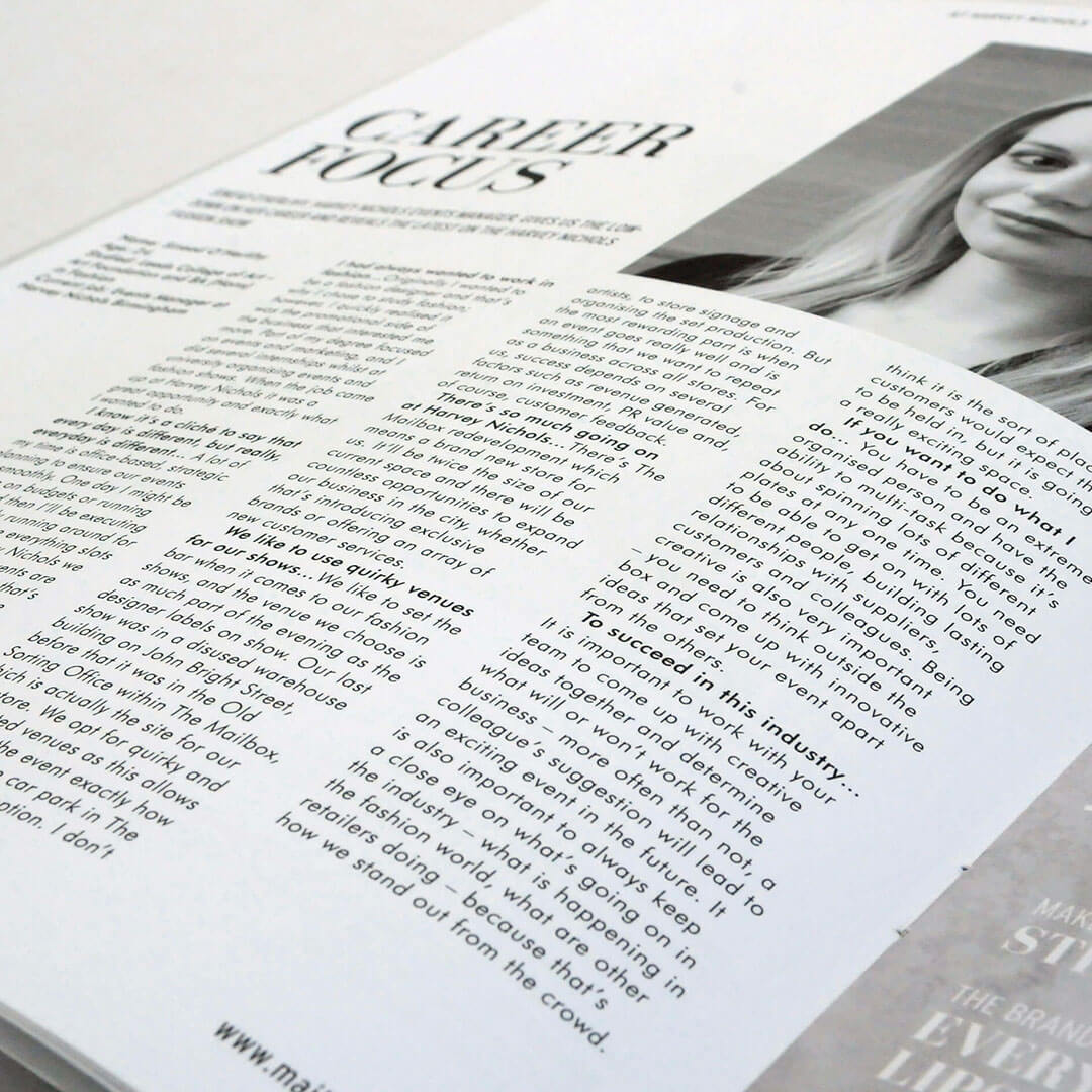 print and editorial design for the Mailbox magazine inner page closeup