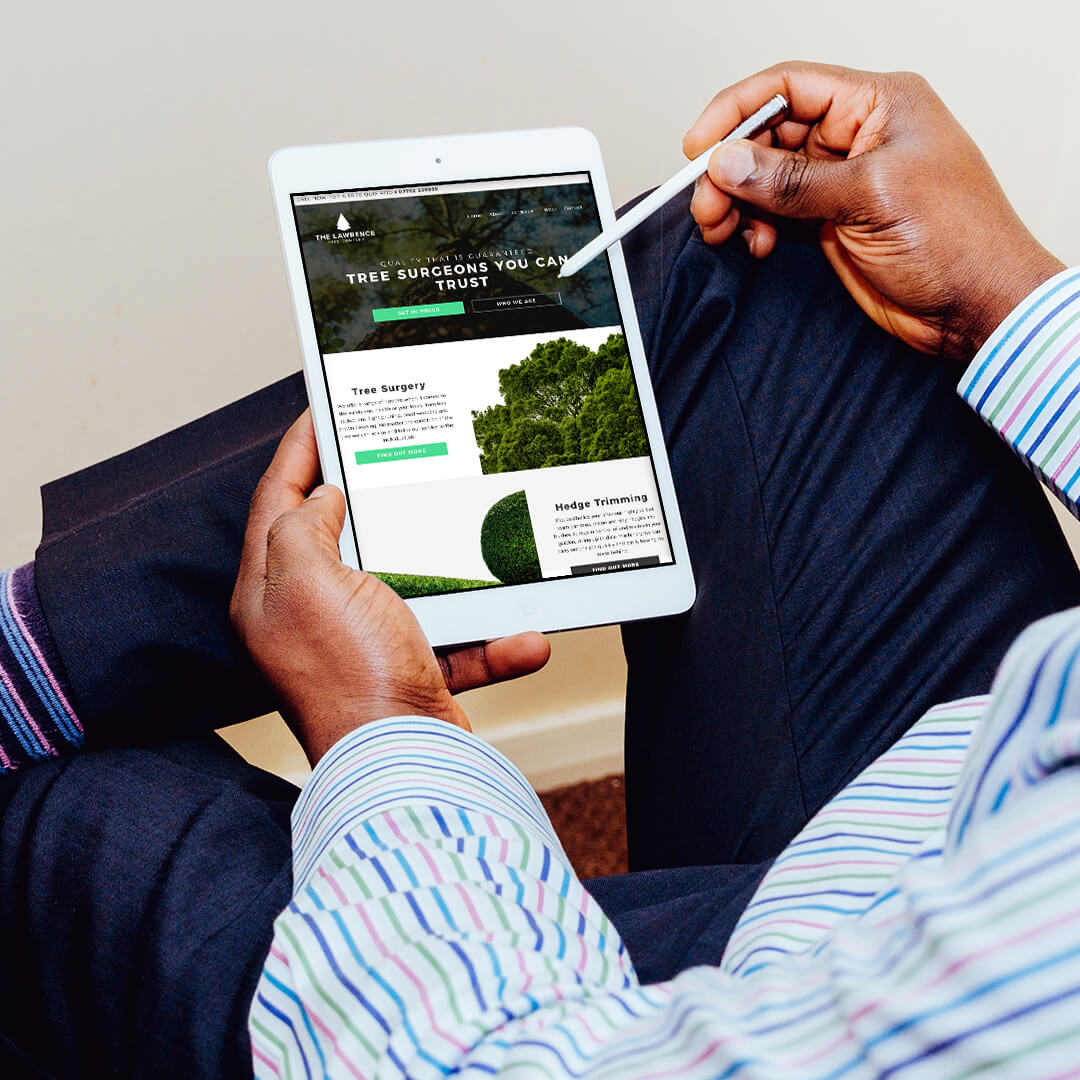 The Lawrence Tree Company website design on an Ipad